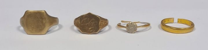 Two 9ct gold signet rings (8.9g) and a 22ct gold wedding band (cut 2.9g) and a yellow metal ring