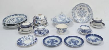 Four Davenport blue and white bowlsdecorated with flowers and fences, a Victorian blue and white