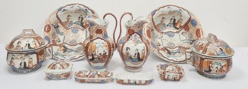 Pair of Japanese wash jugs and basins(one repaired), a pair of soap disheswith lids,a pair of