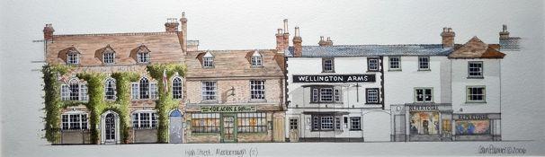 Colin Palmer (20th Century) Watercolour High Street, Marlborough and High Street, Marlborough (2) (a