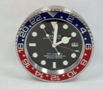 Modern circular wall clock in the style of a Rolex wristwatch, the dial marked 'Rolex, Oyster