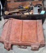 Vintage leather suitcase and a small wooden trunk filled with assorted vintage tools