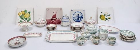 Child's part china tea setwith cups, saucers and tureen with cover, a child's part dinner