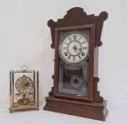 Late 19th/early 20th century clock with Roman numerals to the dial and a brass clock by Kundo (2)