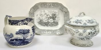 Large Victorian transfer-printed two-handled soup tureen and coverdecorated with birds and flowers,