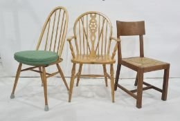Set of four 20th century stickback beech chairs, and another  (6)