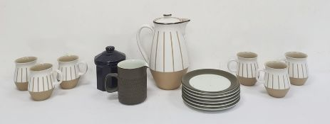 Denby part coffee setcomprising coffee pot and six cups, Denby teaplates and jugand a blue pottery