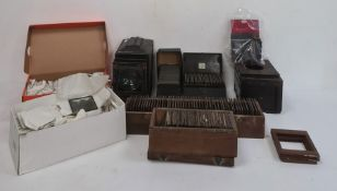 Magic lantern and a large quantity of magic lantern slides including topographical scenes, story