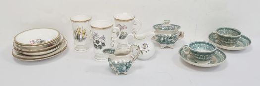 Royal Worcester pair of coffee cups and saucers, floral decorated, a Royal Worcester jug, assorted