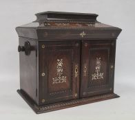 Victorian lady's workbox in rosewood and mother-of-pearl inlaid, fitted interior with assorted