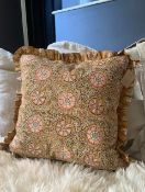 Handmade mustard block printed cushion, by Mahnee Titus