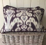 Pair Zoffany Ikat and purple velvet cushions