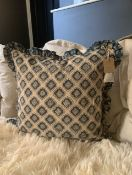 Handmade blue block printed cushion, by Mahnee Titus