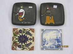 Pair of 20th century Turkish pottery plates by Gorbon Isil, each of square form depicting hooded