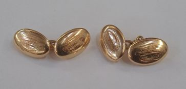 Pair of 15ct gold chain and oval button cufflinks, monogrammed, 7.6g approx (slight damage)