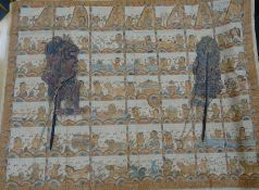 Japanese painted fabric panel with various figures, deities and animals with script, together with a
