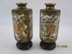 Pair of 19th century Japanese Satsuma earthenware hexagonal vases, each decorated with panels of