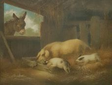 Benjamin Zobel (1762-1831) Marmotinto (sand picture) Study of pigs in barn, a donkey looking through