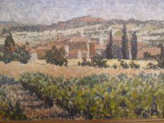 "John Bill RWA (late 20th century school) Pair of oil on boards ""Village near Les Bassacs"