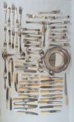 Quantity of assorted plated flatware and a circular shaped dish (1 box)