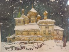 "Svetlana Zovanova (Russian school)  Limited edition print  ""Yellow Church in Winter"", limited"