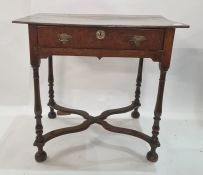 Late 17th century oak lowboywith single frieze drawer and on slender baluster supports, with wavy