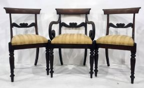 Set of eight (6+2) 19th century mahogany dining chairswith carved bar backs, the carvers with