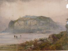 K Sydney (19th century school) Watercolour Fishermen walking along a beach, signed lower left and