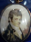 Early 19th century miniature on ivory, head and shoulders portrait of gentleman, 7 cms x 5.5 cms