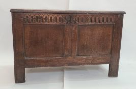 Antique oak coffer having triple-framed panelled top, nulled frieze, double-framed panelled front,