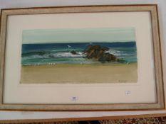 "B Arauyi (contemporary Australian school) Gouache drawing ""Waltzing Birds, Black Head Beach"","