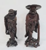 Two Chinese wooden carved boxwood figures, 37cm and 34cm (2)