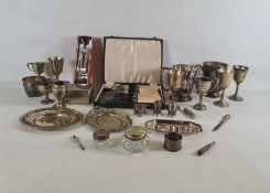 Quantity of plated ware to include cruet set, trinket box, cups, cased fish eaters, tray, trophy