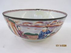 Antique Chinese famille rose porcelain punchbowl with decoration autour of figures in lakeside