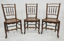 Set of eight country oak and elm railback dining chairs each with quadruple baluster spindles to the