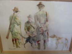 Pair watercolour drawings, 21st c. indistinctly signed T...... 'Midmorning Break' and 'Bentus and