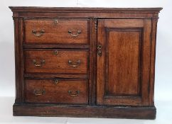 Unusual North Country 19th century oak side cabinet, the rectangular top above mahogany banded