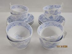 Late Georgian porcelain set of eight cups and saucers, London shape and transfer printed in