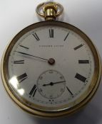 Gentleman's rolled gold open-faced pocket watch 'English Lever' with Roman numerals and subsidiary