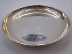 A 1950s silver pin dish, circular plain form, Chester 1956, maker Lowe & Son, 2.4toz, 9cm in