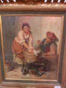 "Edwin Thomas Roberts (1840-1917)  Oil on canvas ""His Sunday Shirt"", signed lower right and titled"