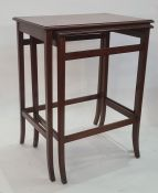 20th century mahogany nest of two tables, the rectangular tops with boxwood stringing and moulded