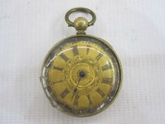 Late 19th/early 20th century Victorian open faced pocket watchwith engraved dial in gilt metal case