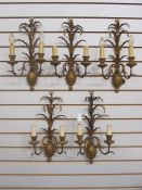 Set of Italian five twin-branch wall lightsin the form of pineapples, with carved wood pineapple