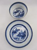 19th century Chinese export porcelain bowl and stand, each with blue brocade border above rice