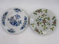 English delft plate, Bristol circa 1750, floral decorated, gallery label to reverse, 23cm diameter