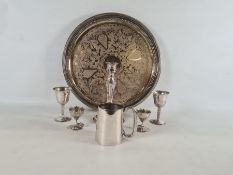 Silver on copper candlestick, lily-cut egg cups, circular tray, tankard, etc