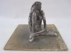 Bill Young (1929-2012) silver painted plaster maquette of a seated nude, on wooden plinth base, 20cm