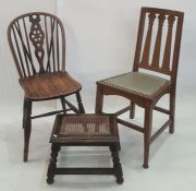 Pair of elm seated Windsor chairs with cartwheel carved backsplats, a cane seated stooland one