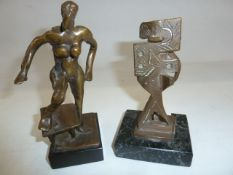 After Abbott Pattison (1916-1999) bronze figure of female form and one further of abstract form,